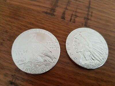 2 * ONE TROY OUNCE .999 FINE SILVER BULLION COIN INCUSE LIBERTY INDIAN Brand new