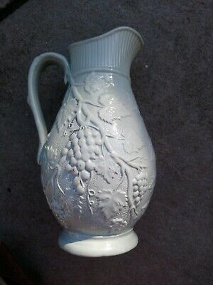 Antique Moulded Wine Jug with Vines & Grapes in Duck Egg Blue