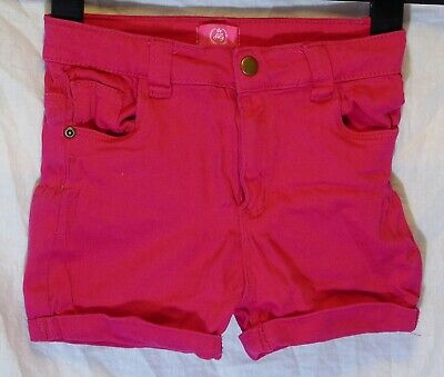 Girls Harper Fuchsia Hot Pink Stretch Denim Turn Ups Shorts Age 7-8 Years