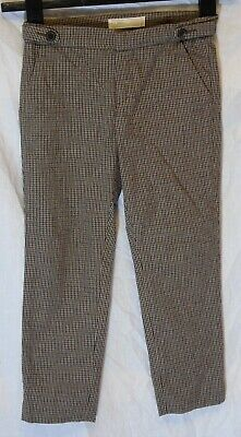 Girls Zara Brown Blue Tweed Check Adjustable Waist Smart Trousers Age 5-6 Years