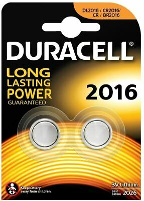 Duracell DL2016 CR2016 Lithium Coin Cell Batteries 3V 2/pk Keyfobs Scales