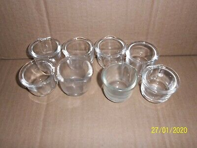 8 x  USED LARGE GLASS TOP HAT DRINKERS FOR CAGE & AVIARY BIRDS