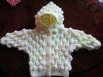 IDEAL GIFT baby's  pale yellow knitted hooded cardigan/jacket 0-6 months