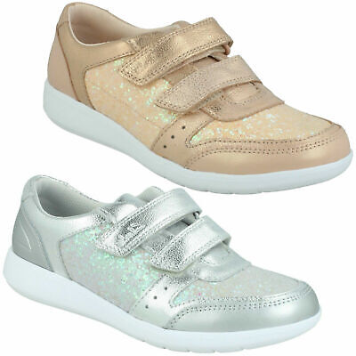 Girls Clarks 'Scape Spirit K' Hook And Loop Junior Casual Glitter Trainer