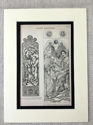 1880 Antique Architectural Print Victorian Stained Glass Design Church