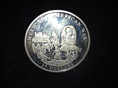 * 2003 Republic of Liberia Fine .999 Silver 20 Dollars Coin Mexican-American War