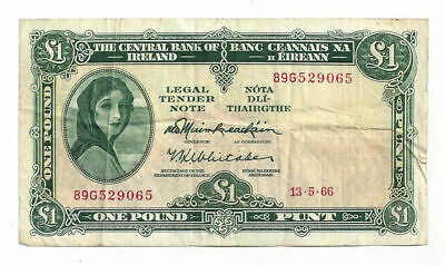 May 13, 1966 The Central Bank of Ireland 1 Pound Note (05517)