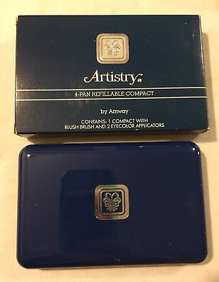 Vtg Amway ARTISTRY 4-Pan Refillable Compact Unused w/ Box