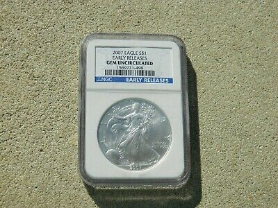 2007 AMERICAN SILVER EAGLE $1.00 NGC GEM UNCIRCULATED EARLY RELEASES