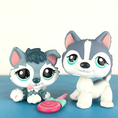 Authentic Littlest Petshop Lot Puzzle + 2036 Husky Dog Baby Puppy and Mom LPS