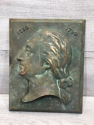 Vintage Bronze Brass George Washington Head Bust Plaque US President Antique