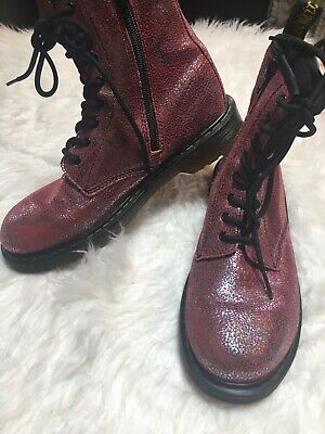 NWOB Dr. Martens Sparkle Delany Zip Up Pink Boots Womans/ Big Girls Size  6