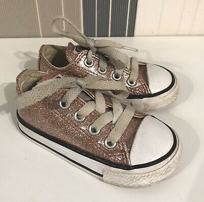 Girls Infant Size 5 Pink Sparkly Converse