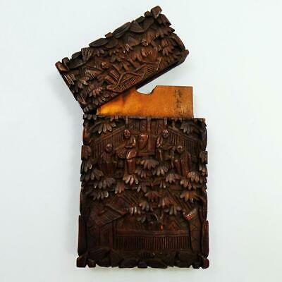 ANTIQUE chinese SANDALWOOD CARD CASE fine carved detail + symbols 19th Century