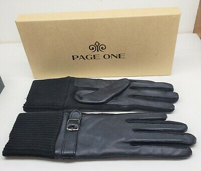 Page One Women's Ladies Genuine Leather Fashion Gloves, Medium Black, NEW