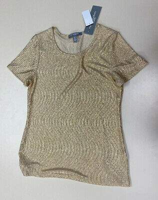 NY Collection Petite Womens Avika Gold Stretch Short Sleeve Shirt Sz PM