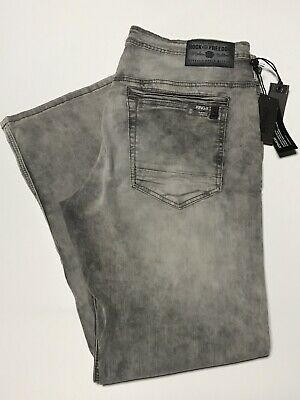 NWT MENS BUFFALO DAVID BITTON JEANS Multiple Sizes King-X Slim Boot Stretch Gray