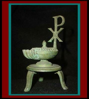 Antique ROMAN BYZANTINE BRONZE OIL LAMP w/ XP Chi Rho & Lamb Head on 3 LEG STAND