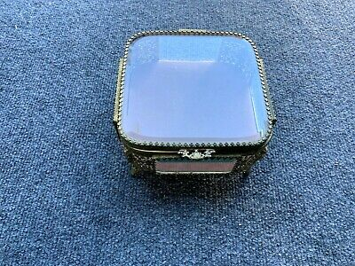 Antique Gold Tone Jewelry Box 6 Inches Square X 3 1/2 Inches Tall W/ 1 3/4 Inch