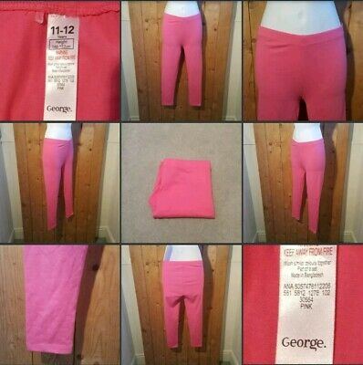 *Used* Lovely Pair of Girls Bright Pink Leggings ♡GEORGE♡ 11-12 Yrs~Crop Length