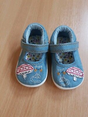 NEXT girls blue denim shoes size 1 sandals cat floral childrens kids child