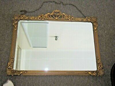 Vintage Art Deco Gold Gilt Frame Mirror with Bevelled Edge