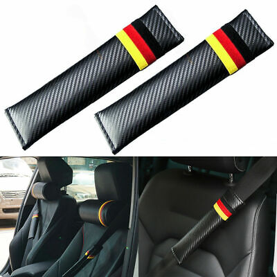 Embroidery Black Carbon Fiber Seat Belt Cover Shoulder Pad with Germany Flag