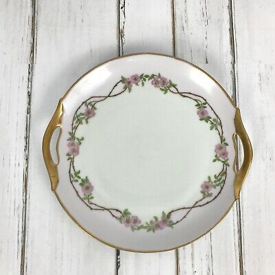 Antique Z.S. & Co Bavarian Plate 11 Inches Dated 1916 Gold Rim and Handles