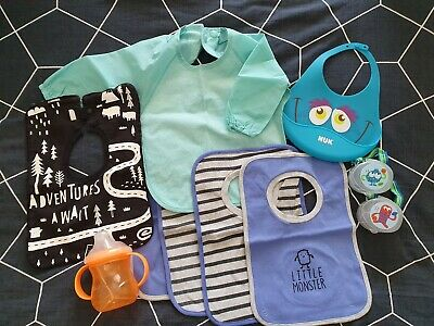 Bulk Lot Baby Items Including Bibs, Nuby Sippy Cup And Dummy Holders