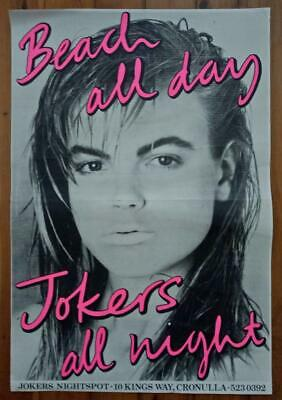 Vintage 1980's Cronulla Workers Club JOKERS NIGHTSPOT Promotional POSTER