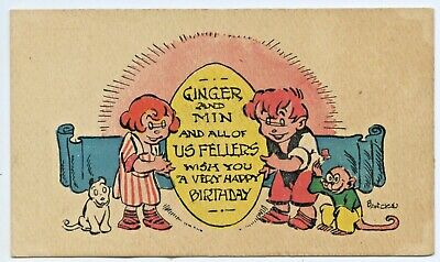 1936 Aust. Happy Birthday Postcard Artist Signed By Banks Ginger Meggs & Min H74