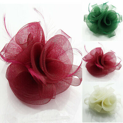 Lady Feather Flower Comb Fascinator Hair Clip Brooch Wedding & Race Ascot Day