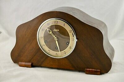 """Art Nouveau Junghans """"Made In Germany"""" Westminster Chime Wooden Mantle Clock"""