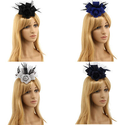 Flower Beak Clip Mesh Feather Fascinator Corsage Wedding Royal Ascot Formal
