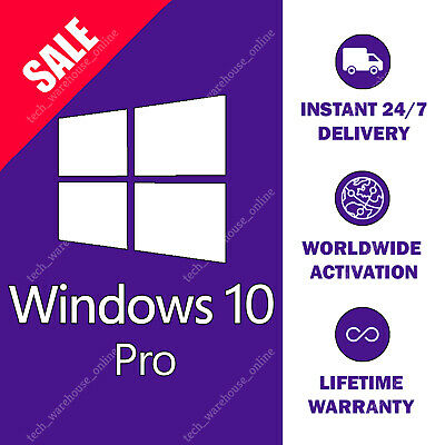 Windows 10 Pro Professional 32/64 Bit License Activation Key Code 100% Original