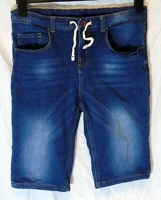 Boys Zara Dark Blue Whiskered Denim Adjustable Waist Long Shorts Age 11-12 Years
