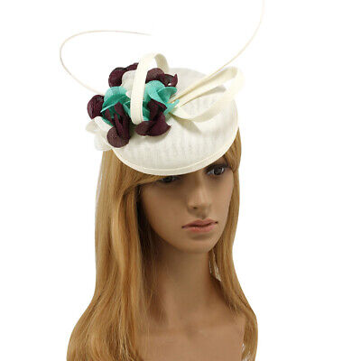 Ivory/Purple/Green Mesh Feather Hair Hat Fascinator Clip Wedding Ascot Races
