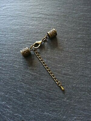 4 sets Antique Bronze Patterned End Caps for 6mm Cord with Clasps & Extender UK