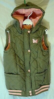 Girls George Khaki Green Quilted Padded Hooded Gilet Bodywarmer Age 9-10 Years