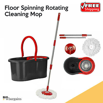 Floor Spinning Rotating Cleaning Mop and Bucket Microfibre Head Set Rotary 360°