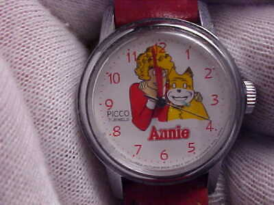 Vintage ANNIE Wrist Watch with Bright Red Band