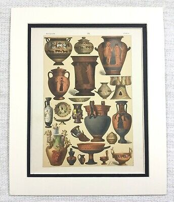 1895 Antique Print Ancient Greek Terracotta Pottery Urn Vase Bowl Grecian Art