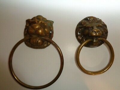 Vintage Brass Lion Head Door Knockers
