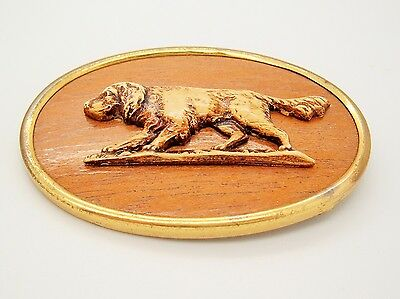 Vtg Antique Irish Setter Retriever Pointer Hunting Dog wood plastic Pin Brooch