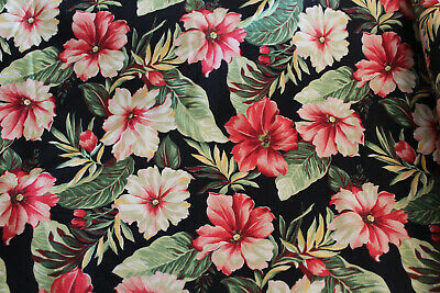 "MODA Fabric ~ SUNSHINE ~  BTY, 44"" wide, Cotton, Floral Print, Pink & Black"