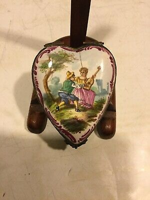 Antique French Hand Painted Porcelain Heart Shaped Box Lille 1767
