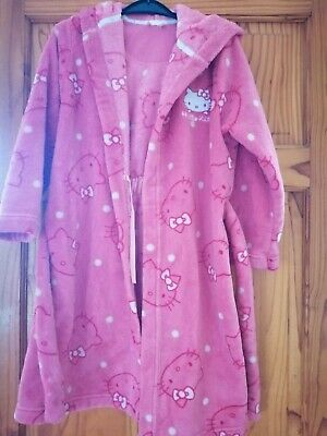 Girls Aged 7-8 Years Hooded Hello Kitty Dressing Gown From M&S
