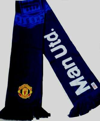 Manchester United F.c  Navy blue 2 tone' Official Football Jacquard Scarf crest