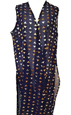 New LuLaRoe Joy Vest Duster Small Elegant navy blue silver bronze geometric