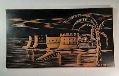 Vtg Souvenir Wood Hand Carved Painted Picture Wall Art Dubrovnik Village Scenery